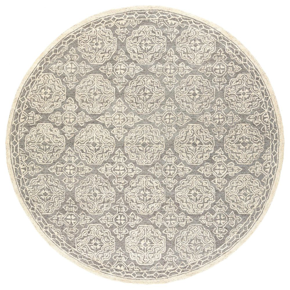 Surya Granada GND-2304 6' Round Medium Gray, Beige and Charcoal Area Rug, , large