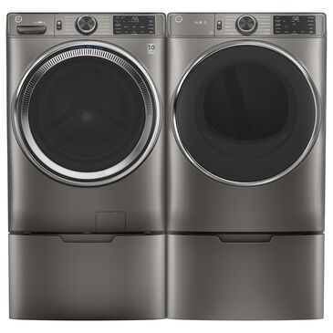 GE Appliances 4.8 Cu. Ft. Front Load Washer and 7.8 Cu. Ft. Electric Dryer with Pedestal Laundry Pair in Satin Nickel, , large
