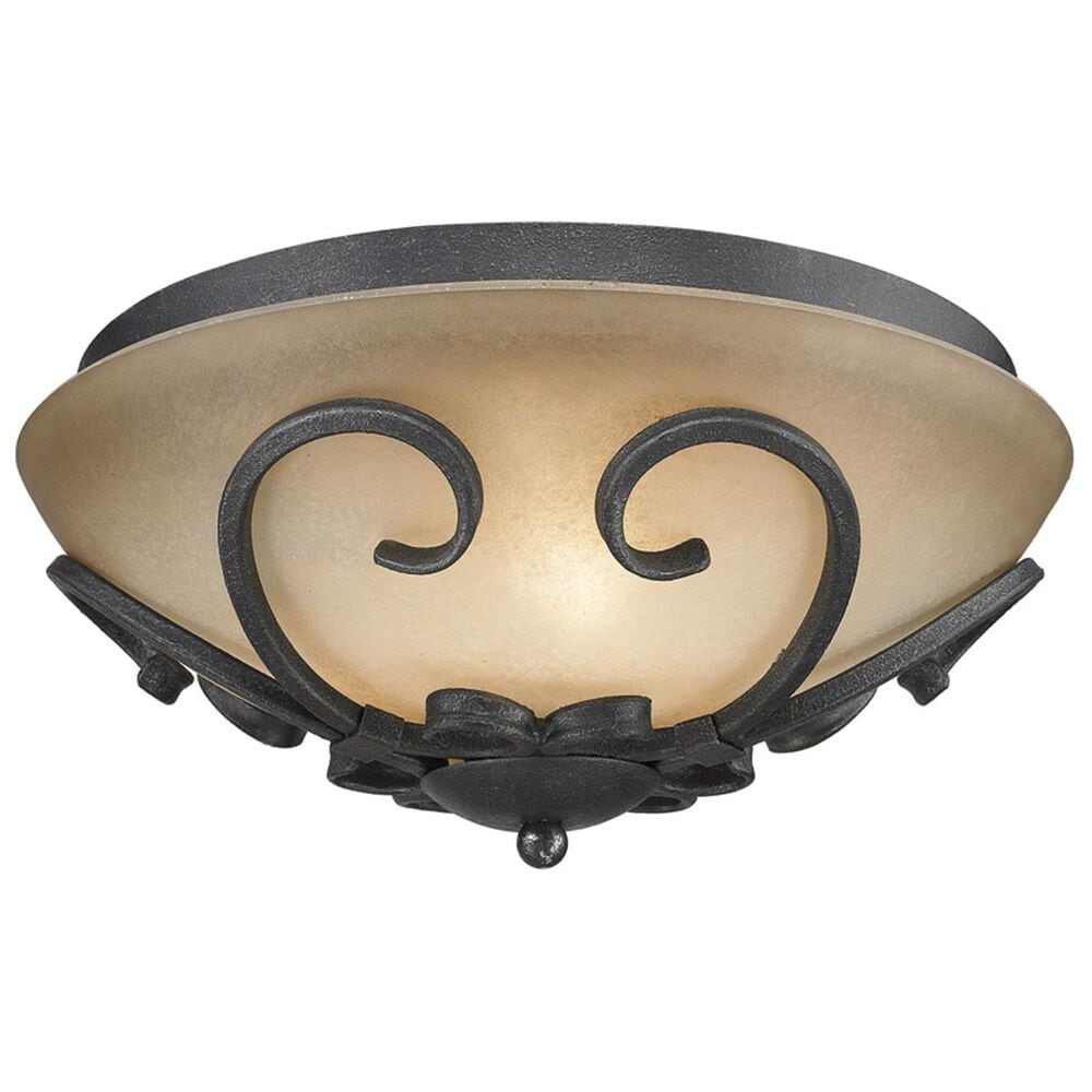 Golden Lighting Madera Flush Mount in Black Iron with Toscano Glass, , large