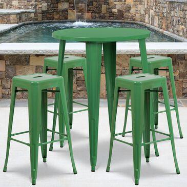 Flash Furniture 5-Piece Metal Bar Table Set in Green, , large