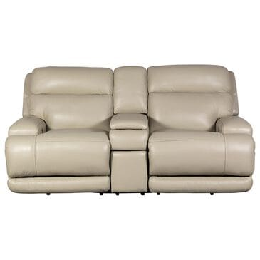 Sienna Designs Leather Power Console Reclining Loveseat / Power Headrest in Caesar Ivory, , large