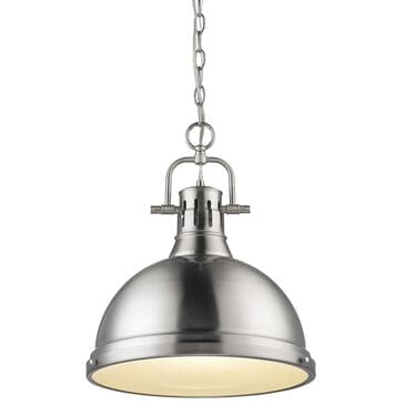 Golden Lighting Duncan 1-Light Pendant with Chain in Pewter with a Pewter Shade, , large