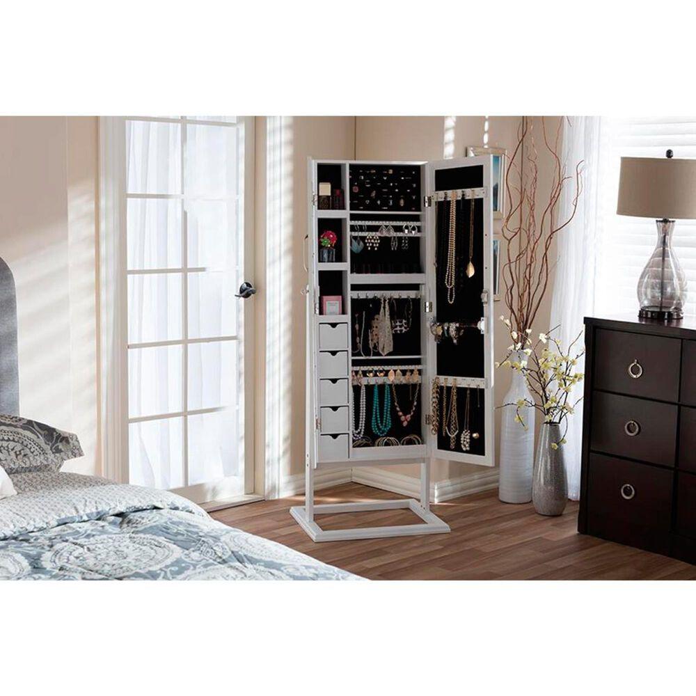 Baxton Studio Vittoria Jewelry Armoire Cabinet in White, , large