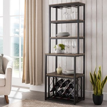 Southern Enterprises Aldwych Bakers Rack in Rustic Black and Distressed Fir, , large