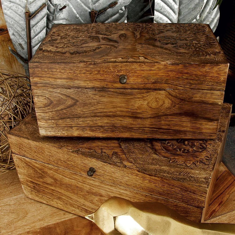 Maple and Jade Rustic Mango Wood Boxes in Brown (Set of 3), , large