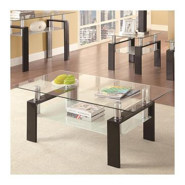 Pacific Landing Tempered Glass Coffee Table in Black, , large