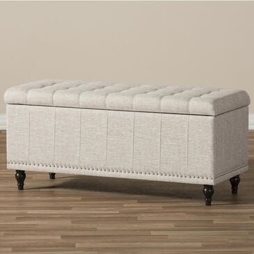 Baxton Studio Kaylee Storage Ottoman Bench in Beige, , large