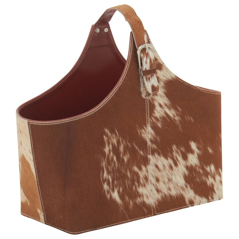 Maple and Jade Cow Hide Styled Magazine Holder in Brown, , large