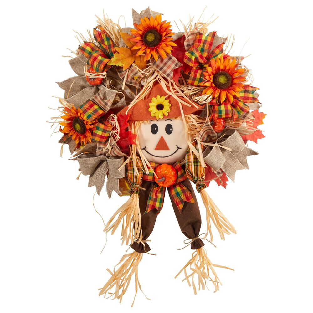 Nearly Natural Inc 30in. Scarecrow Fall Artificial Autumn Wreath with Sunflower, Pumpkin and Decorative Bows, , large