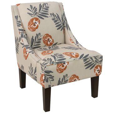 Skyline Furniture Swoop Arm Chair in Mod Floral Orange, , large