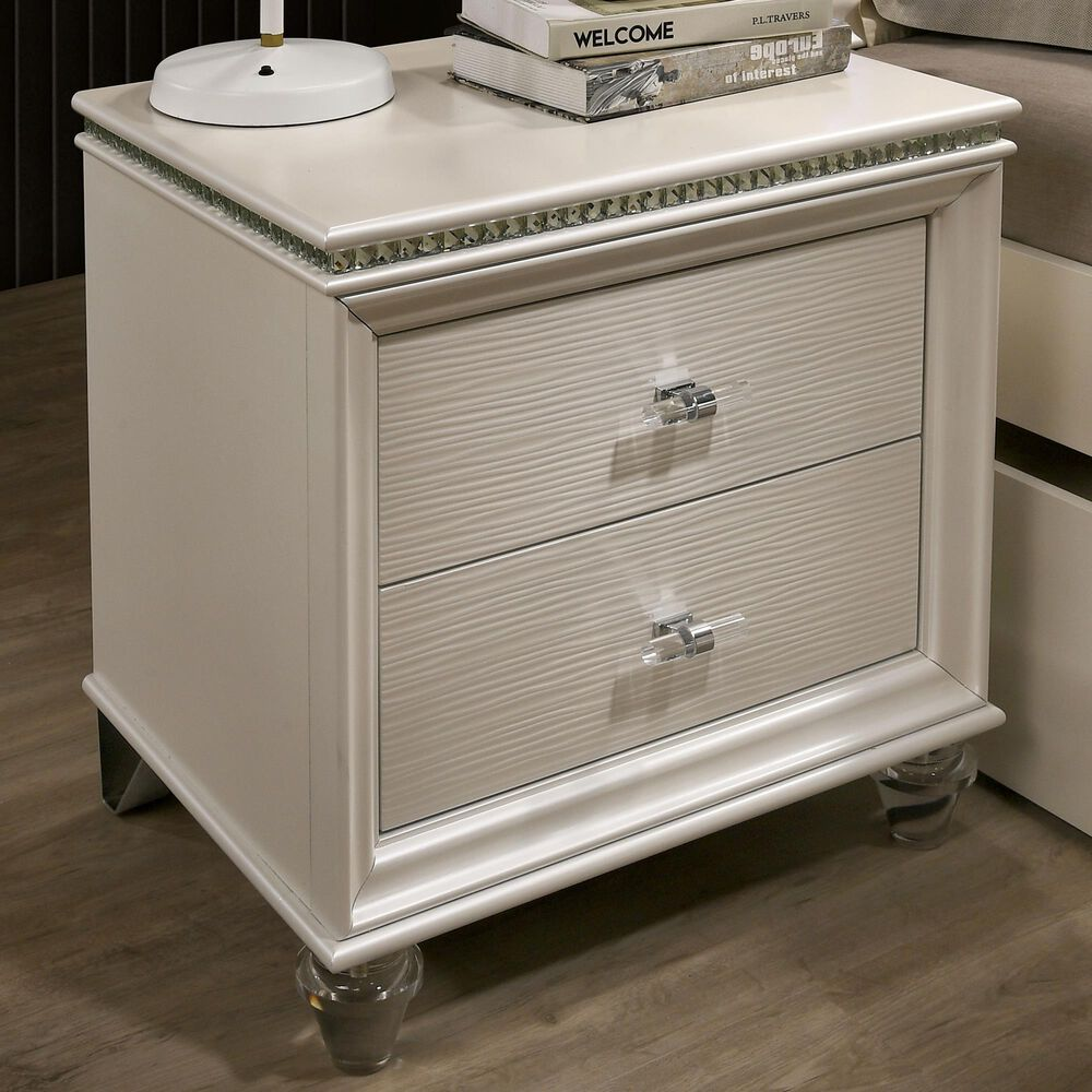 Furniture of America Norris 2 Drawer Nightstand in Pearl White, , large