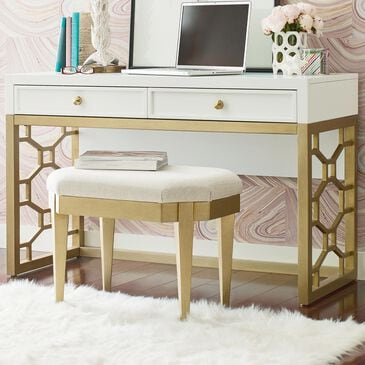 Legacy Classic Chelsea Desk/Vanity and Stool in White, , large