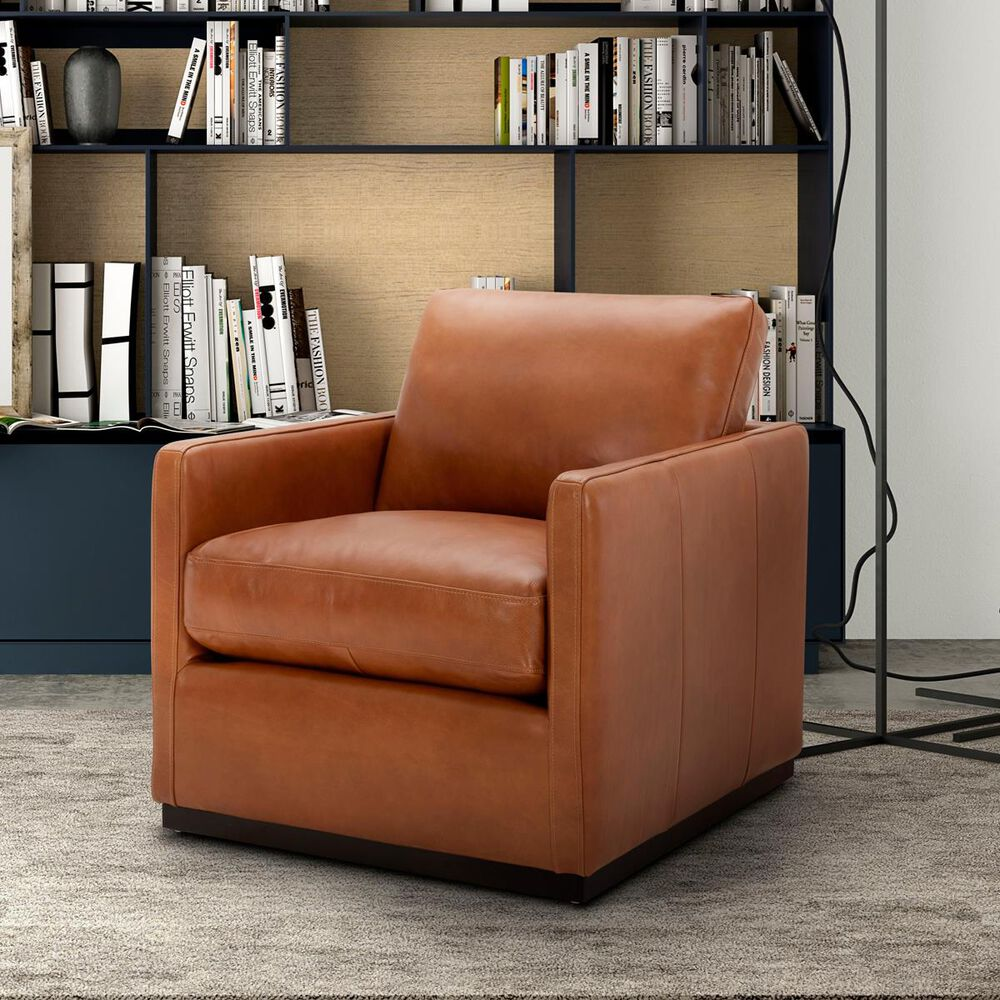 Interlochen Leather Accent Chair in Camel Brown, , large