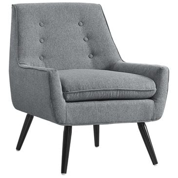 Linden Boulevard Trelis Accent Chair with Black Legs in Gray, , large