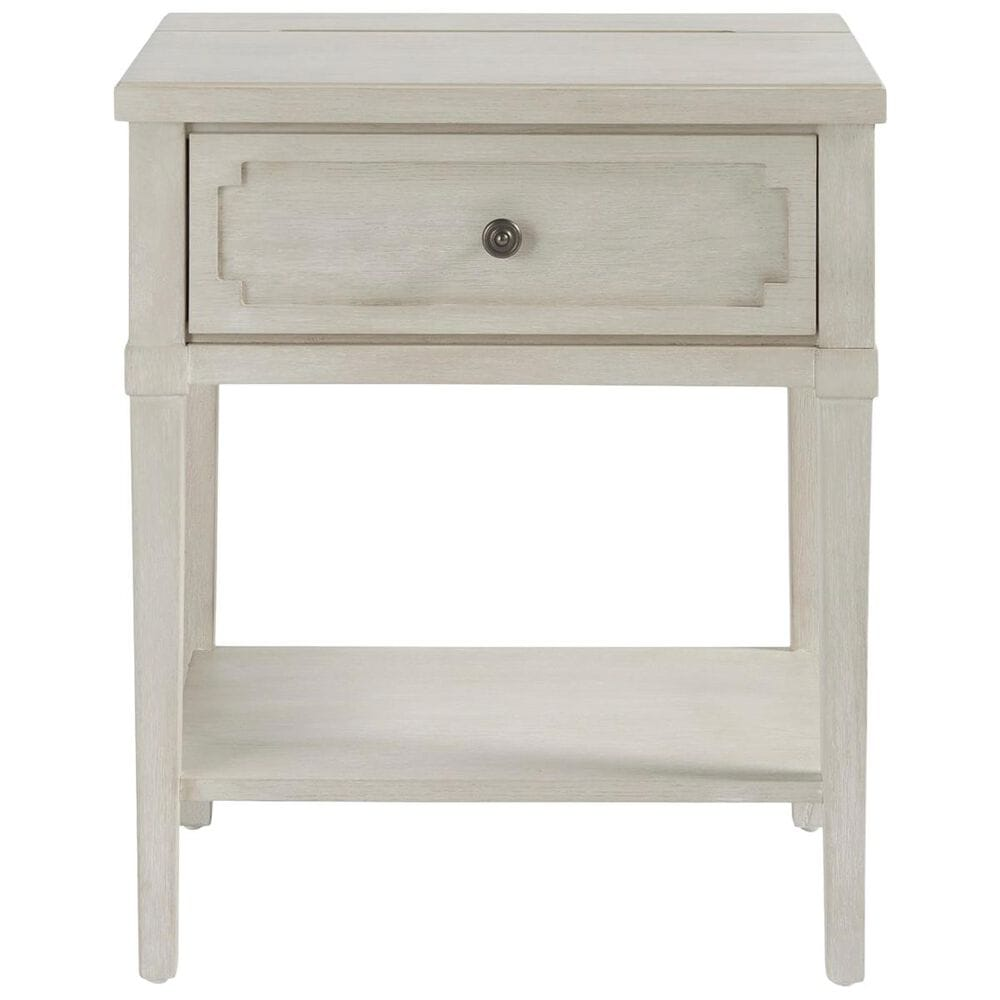 Furniture Worldwide Serendipity 1 Drawer Nightstand in Alabaster with AC Outlets, , large