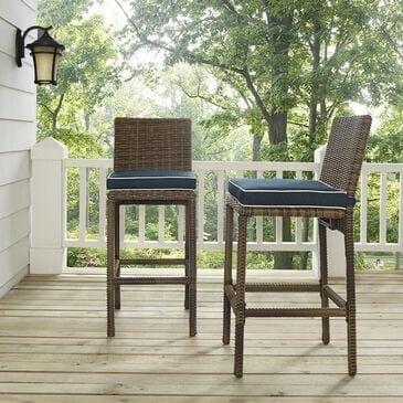 Crosley Furniture Bar Height Stool with Navy Cushion in Light Brown - Set of 2, , large