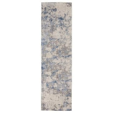 "Nourison Silky Textures SLY04 2'2"" x 7'6"" Blue, Ivory and Grey Runner , , large"