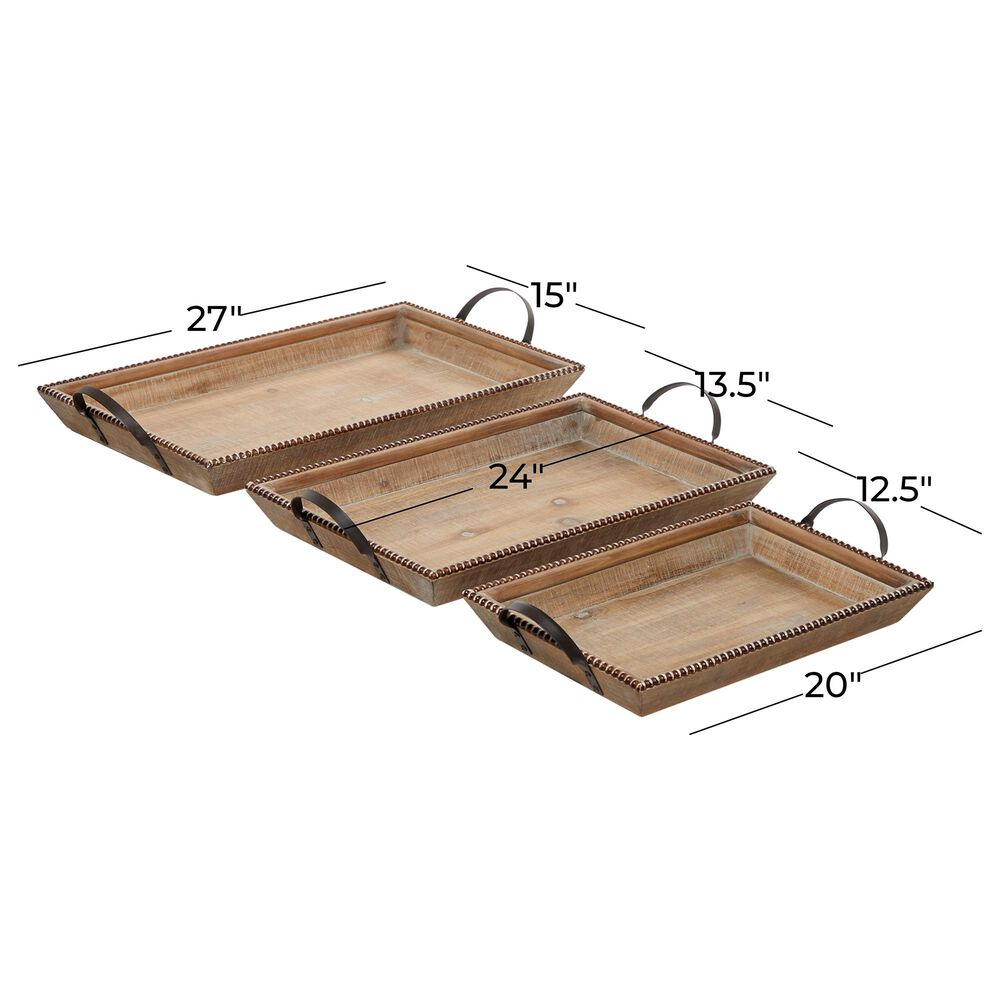 Maple and Jade Coastal Wood Tray  Set of 3 in Brown and Black , , large