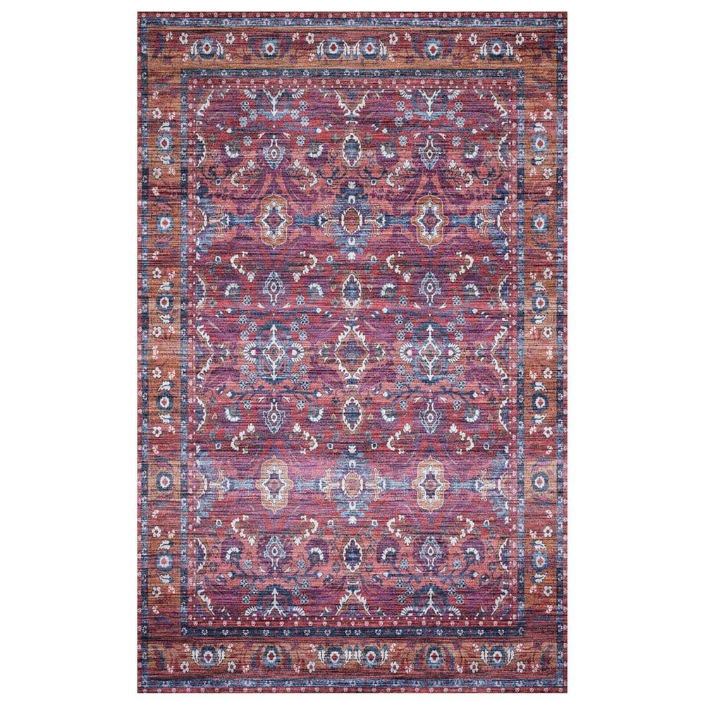 Loloi Cielo CIE-08 3' x 5' Berry and Tangerine Area Rug, , large