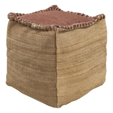 Surya Inc Surya Poufs Cube Pouf in Taupe and Rust, , large
