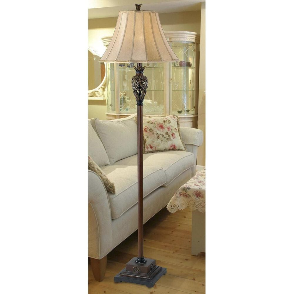 Kenroy Iron Lace Floor Lamp in Golden Ruby, , large