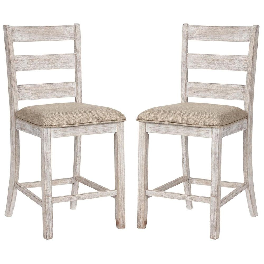 Signature Design by Ashley Skempton Upholstered Counter Stool in White and Light Brown, , large