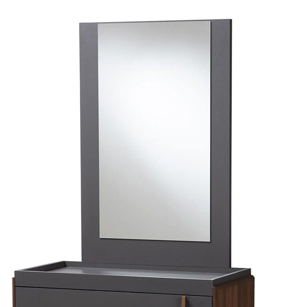 Baxton Studio Rikke Vanity Set in Gray/Walnut, , large