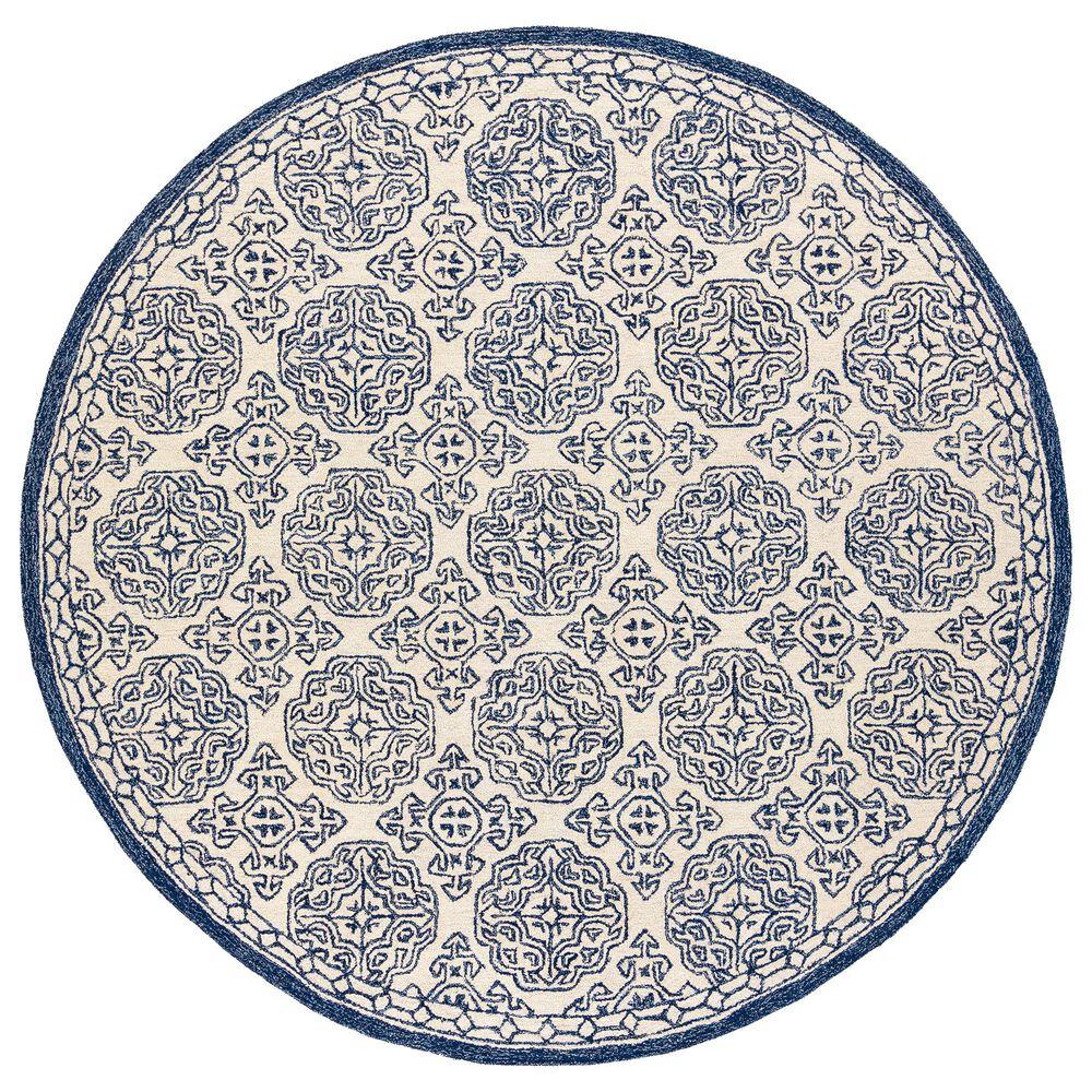 Surya Granada GND-2303 6' Round Dark Blue, Denim and Ivory Area Rug, , large