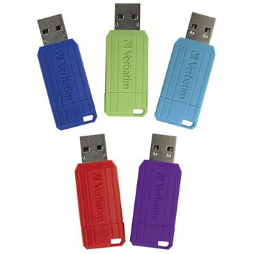 Verbatim 5-Pack 16 GB Pinstripe USB Flash Drive - Assorted Colors , , large