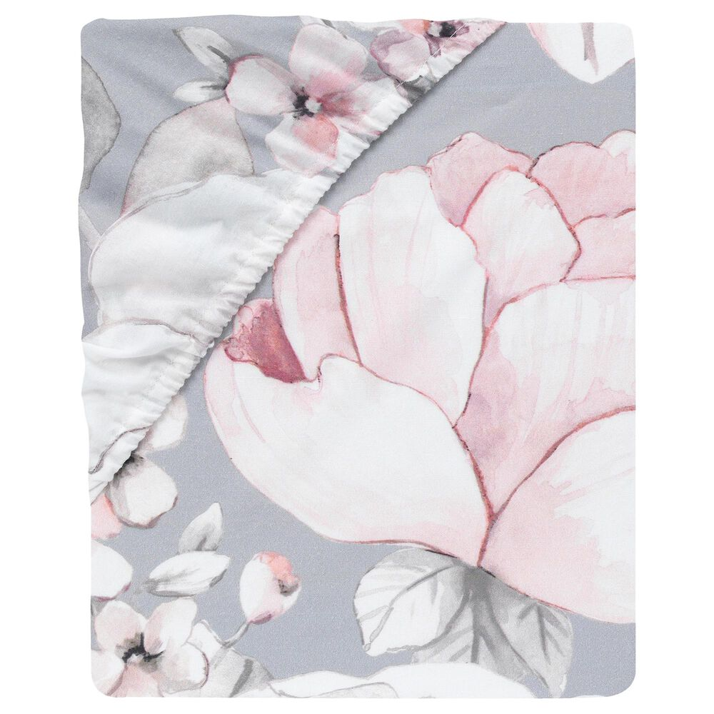 Lambs and Ivy Watercolor Floral Cotton Crib Sheet Grey, Pink and White, , large