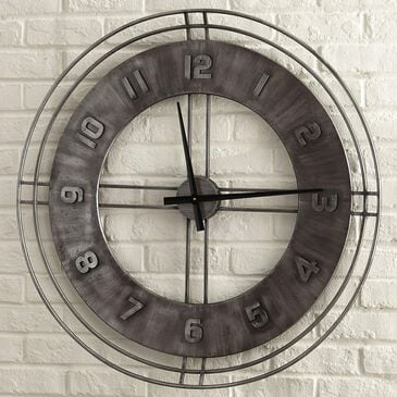 Signature Design by Ashley Ana Sofia Wall Clock in Antique Gray, , large