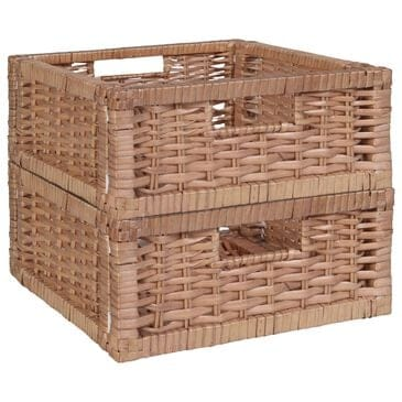 Regency Global Sourcing Niche Cubo Wicker Storage Basket in Natural (Set of 2), , large