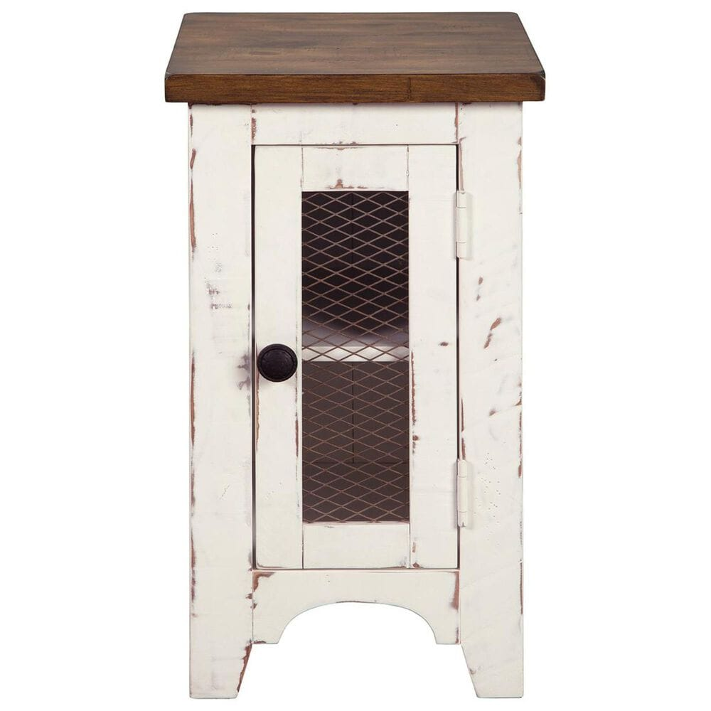 Signature Design by Ashley Wystfield Chairside Table in Vintage White and Warm Brown, , large