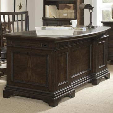 "Riva Ridge Essex 66"" Curved Executive Desk in Molasses Brown, , large"