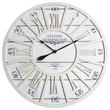 Yosemite Home Decor Kensington Station Wall Clock in Distressed White, , large