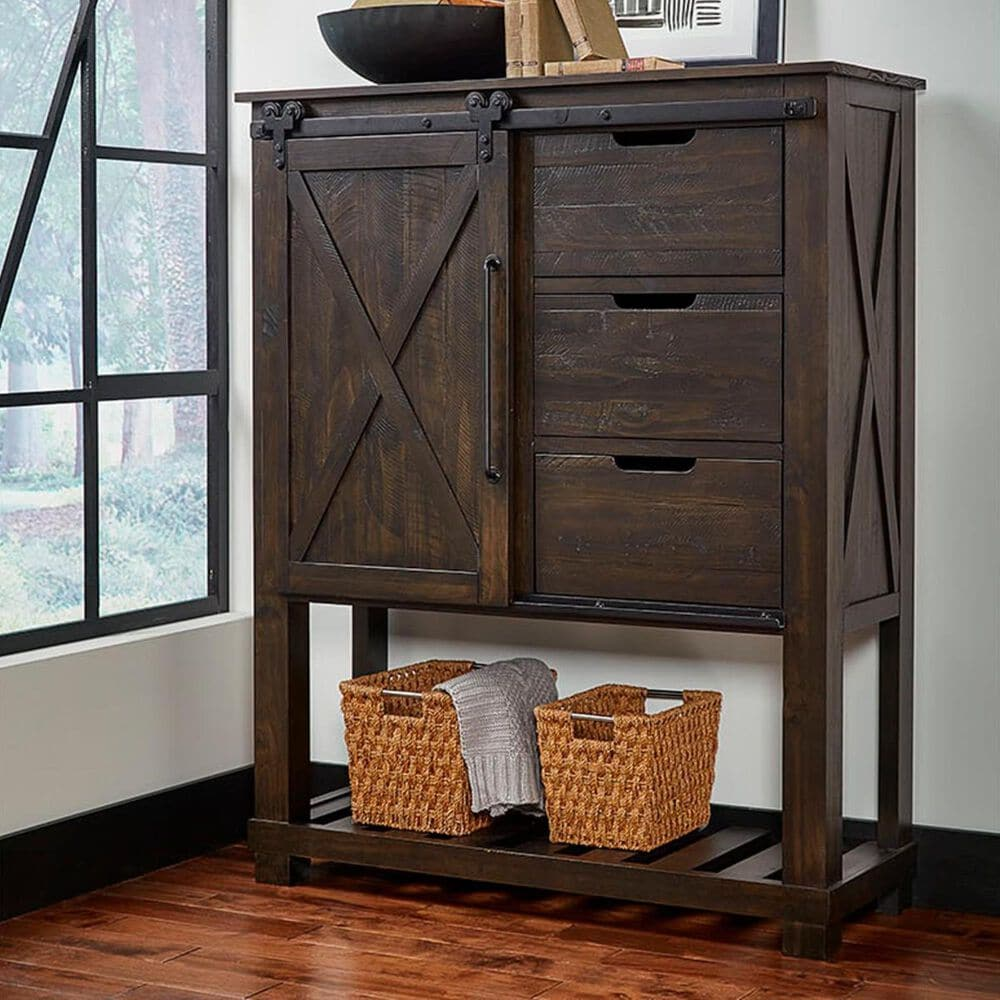 A-America Sun Valley Tall Barn Door Chest in Charcoal, , large
