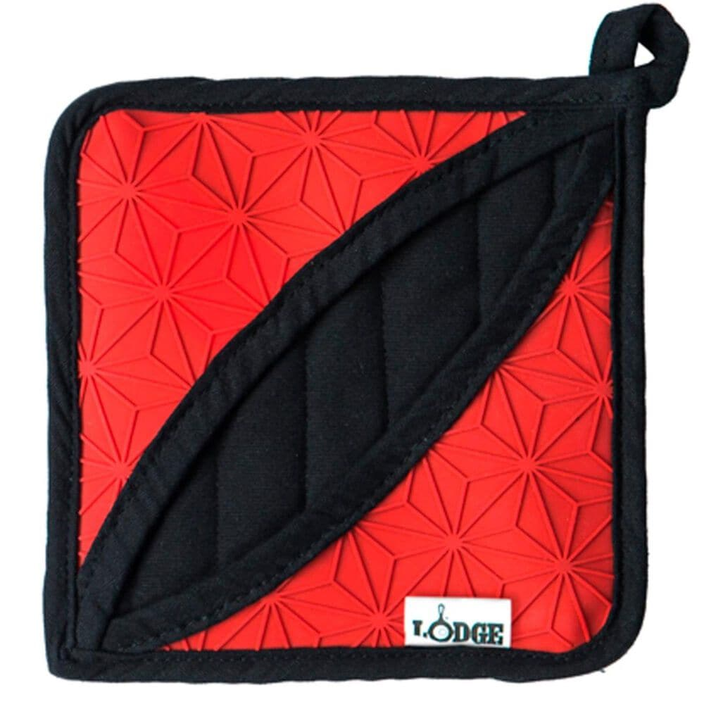 Lodge Cast Iron Silicone and Fabric Potholder in Red , , large