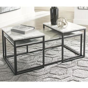 Signature Design by Ashley Donnesta 3-Piece Occasional Table Set in White, , large