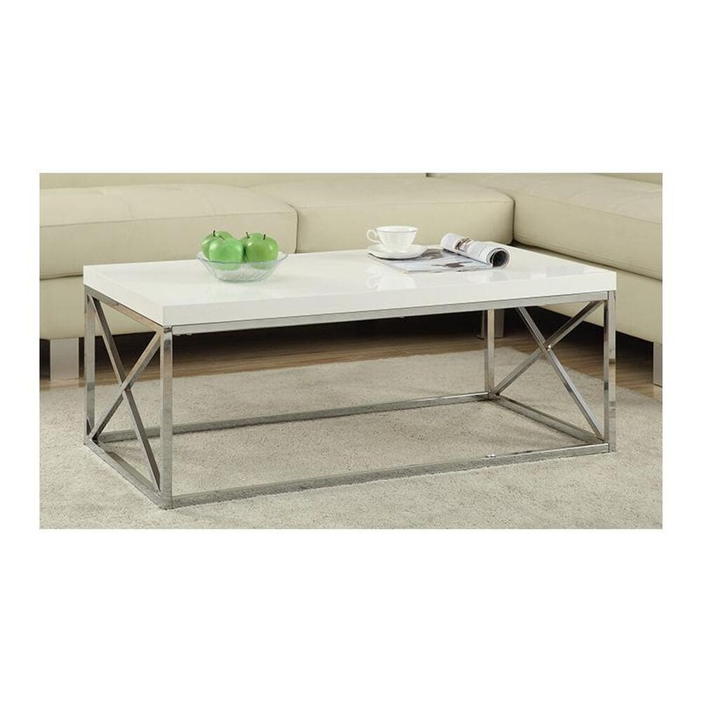 Monarch Specialties Cocktail Table in Glossy White and Chrome, , large