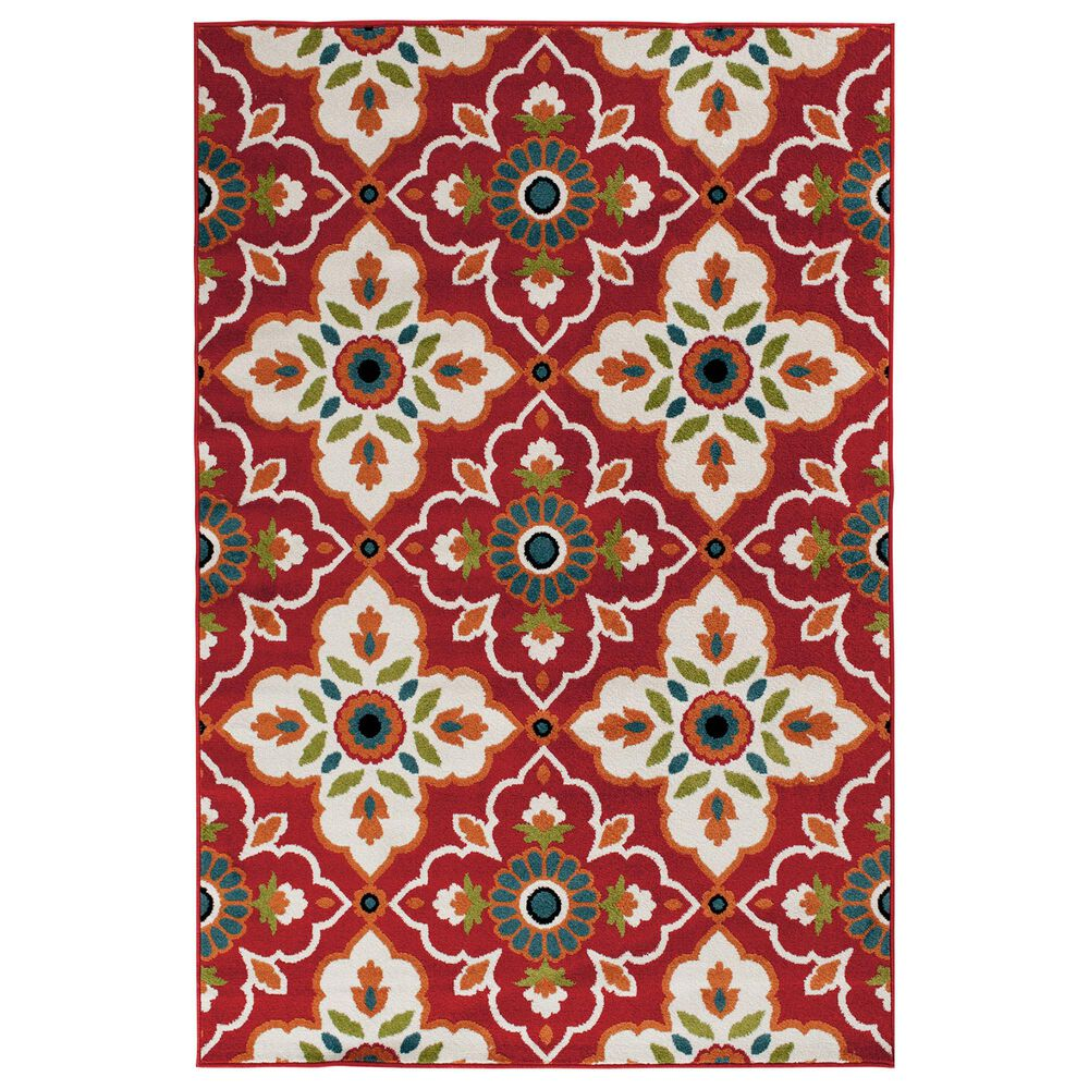 "Central Oriental Terrace Tropic Bluffton 2309ON.084 6'7"" x 9'6"" Coral and Snow Area Rug, , large"