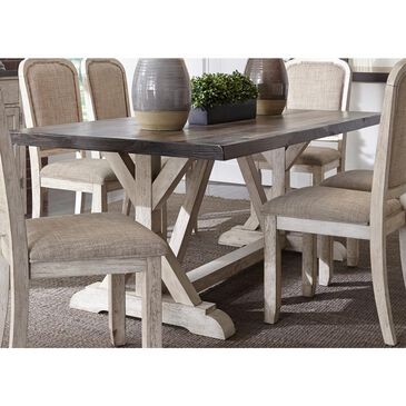 Belle Furnishings Willowrun Trestle Table in Rustic White - Table Only, , large