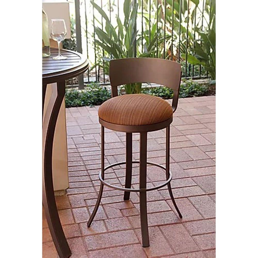 "Delaware Dining Bailey 30"" Patio Swivel Barstool with Dupione Oak Seat in Sun Bronze, , large"