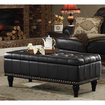 OSP Home Caldwell Storage Ottoman in Black Bonded Leather, , large