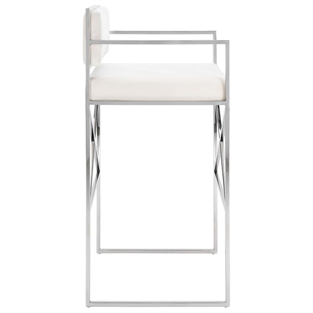 Safavieh Kian Directors Stool in White Velvet and and Chrome, , large