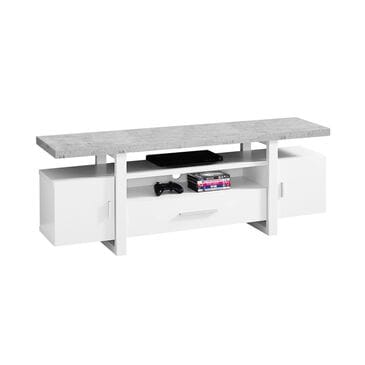 "Monarch Specialties 60"" TV Stand in White, , large"