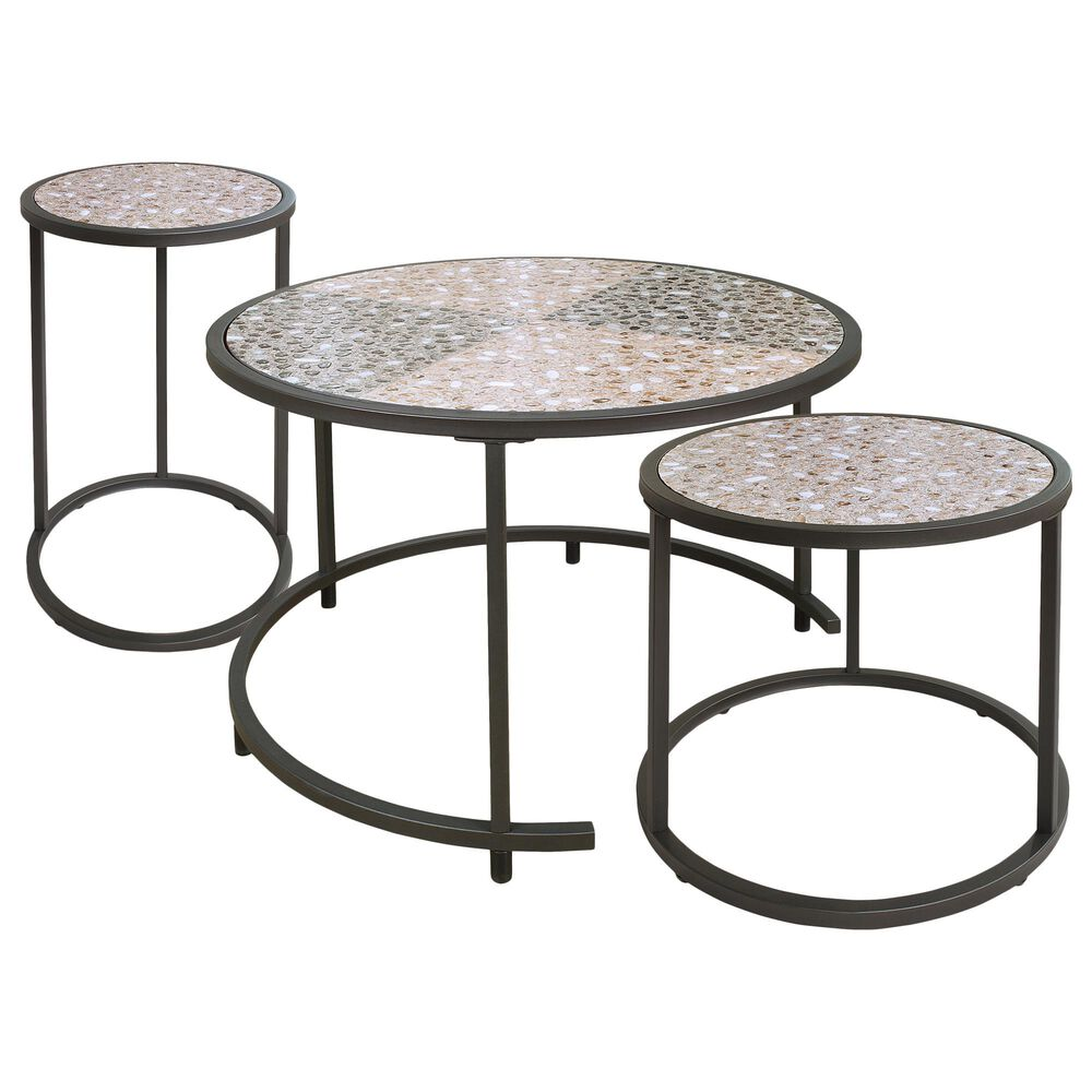 Furniture of America Stephan 3-Piece Accent Table Set in Gun Metal, , large