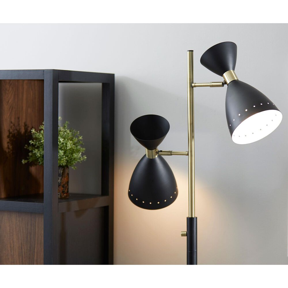Adesso Oscar Tree Lamp in Black and Antique Brass, , large