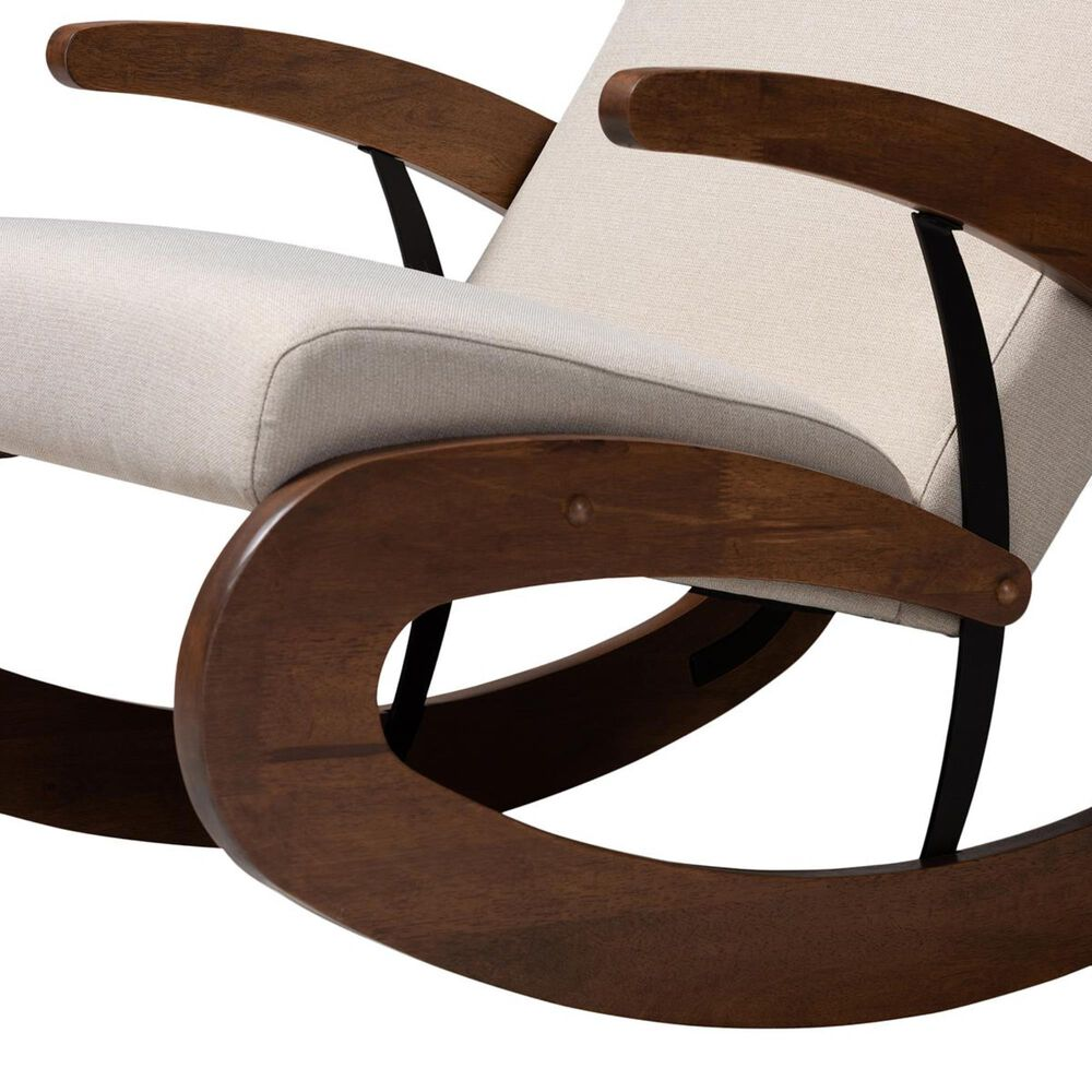 Baxton Studio Kaira Rocking Chair in Light Beige and Walnut, , large