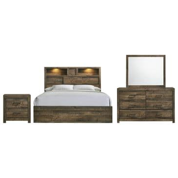 Mayberry Hill Bailey 4-Piece Full Bedroom Set in Warm Walnut, , large