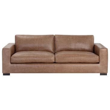 Sunpan Trading & Importing Baylor Stationary Leather Sofa in Marseille Camel, , large